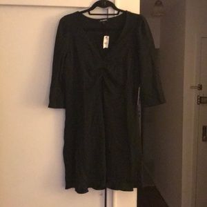 Express Black 3/4 sleeve ruffle hem black dress L
